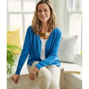 WoolOvers   Blue Cotton Silk V Neck Cardigan
